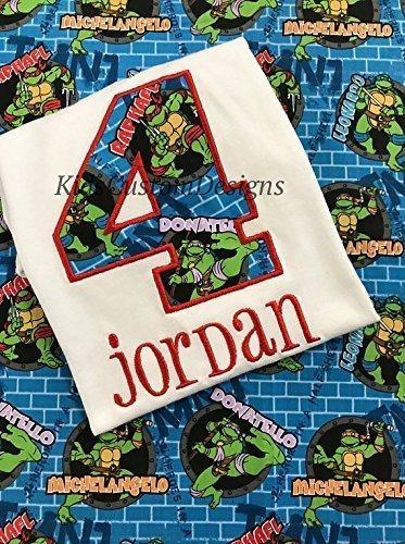 Ninja turtles birthday shirt embroidered Any age Michaelangelo Donatello Leonardo Raphael]()