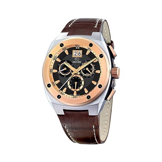 Jaguar 625/4 - Reloj de caballero de cuarzo, correa de piel color marrón: Amazon.es: Relojes
