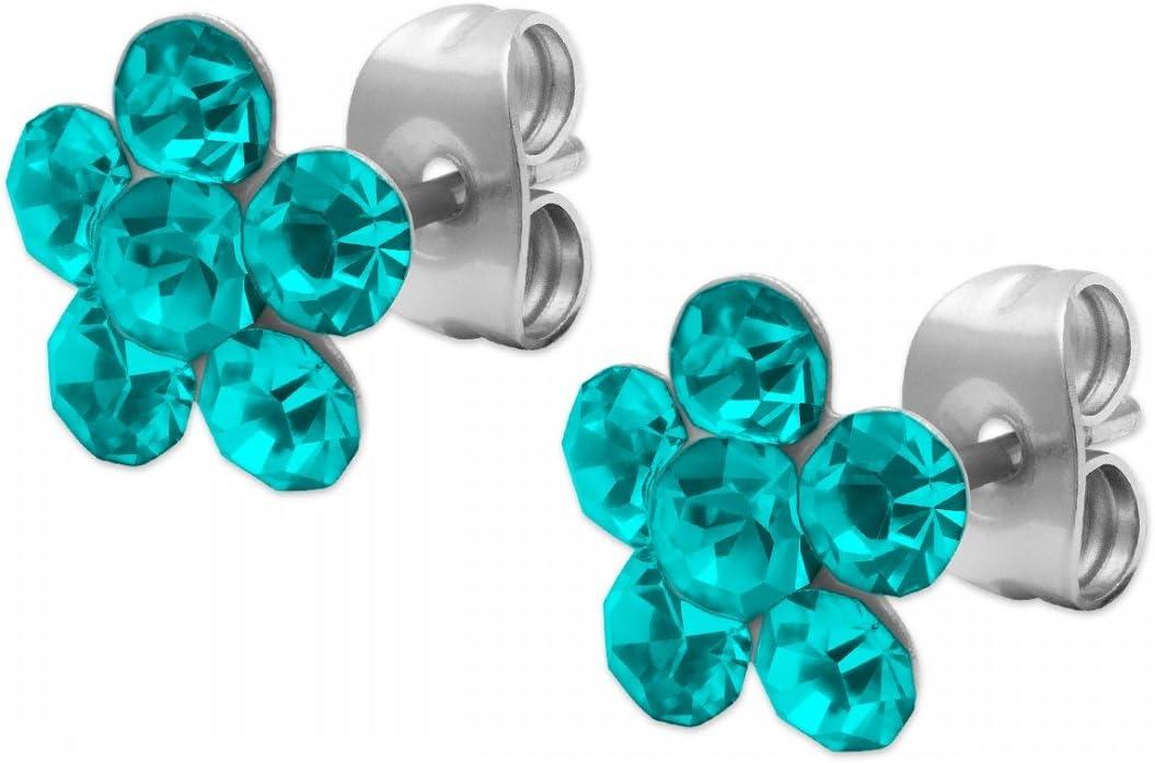 1 par de pendientes con diseño de flor Ohstecker Blümchen pedrería azul y colour verde y blanco Colour rosa