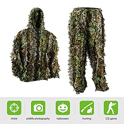 Pellor Kids Ghillie Suits, 3D Leafy Ghille Suit for Youth Boys, Kid Hooded Hunting Airsoft Camouflage Gillies Suits