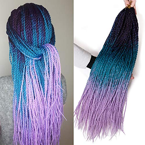 VERVES Ombre Senegalese Twist Hair 6 pack/lot 24 inch Crochet braids 30 Roots/pack Kanekalon Synthetic Braiding Hair for Women (purple ombre Lake blue ombre light purple) ()