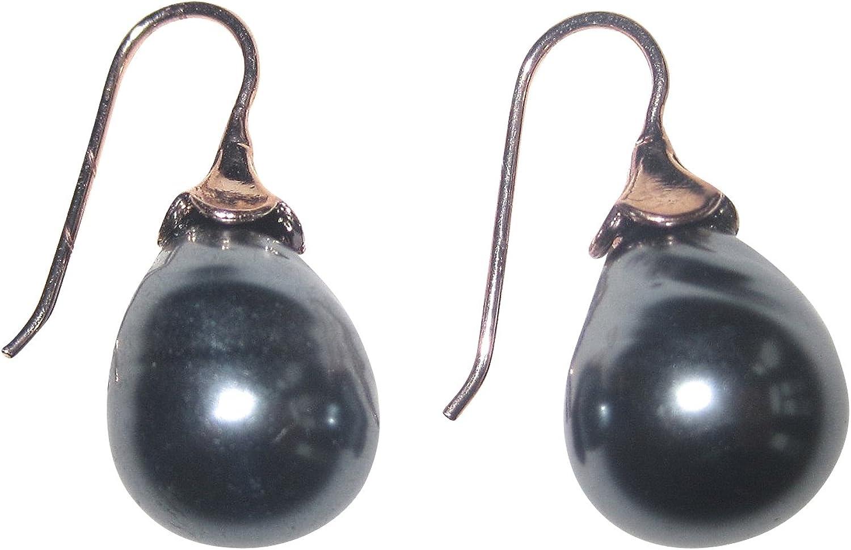 Pendientes de perlas grises, perla de cristal barroca, forma de gota, plata de ley chapada en oro rojo, 18 quilates, clásico, elegante, hecho a mano en Italia