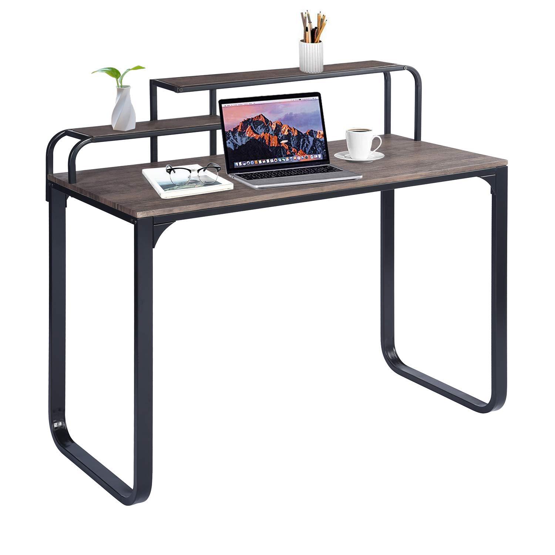 GreenForest Computer Desk, Large Desktop Writing Desk with Shelf for Home Office, Walnut