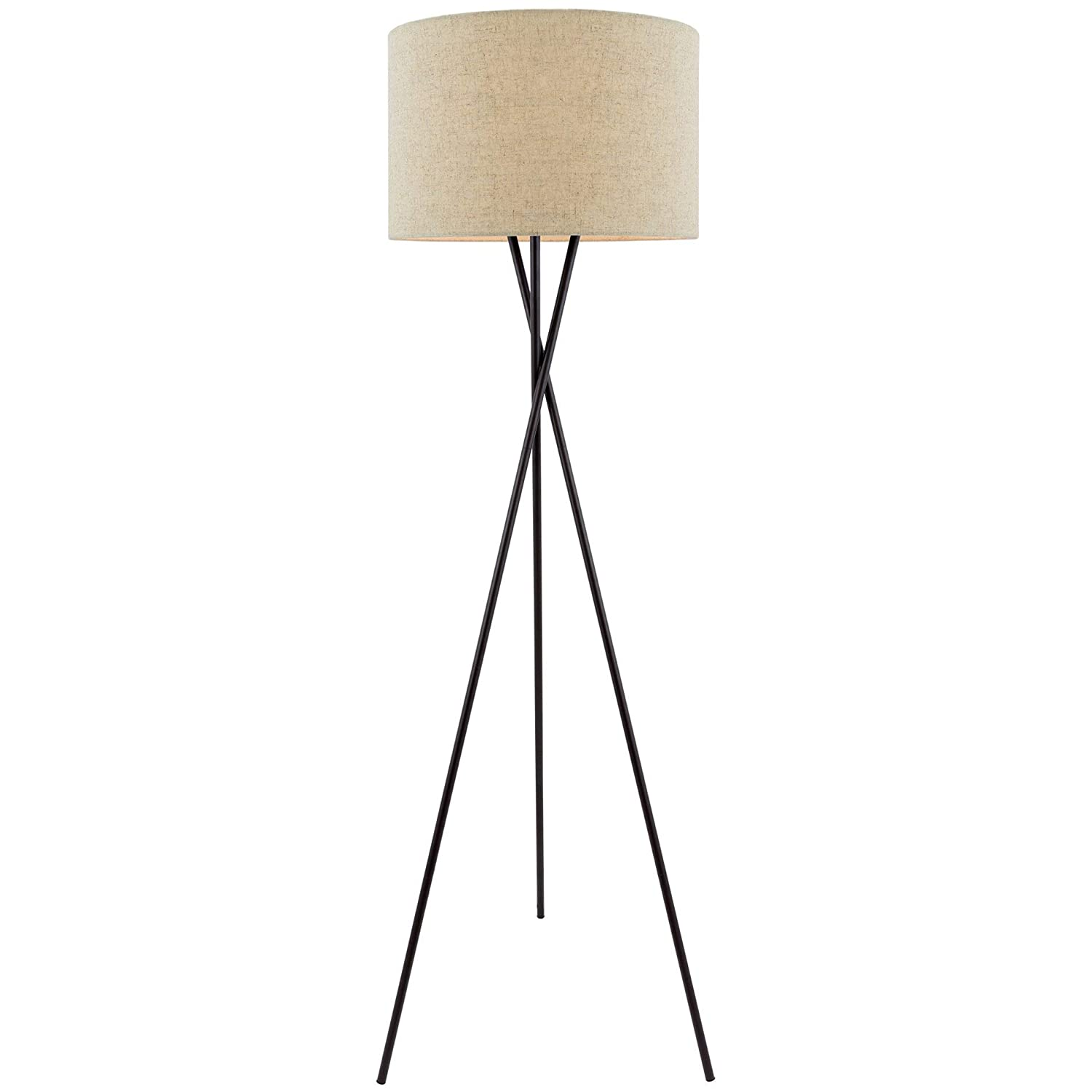 "Kira Home Sadie 60"" Modern Tripod LED Floor Lamp + 9W Bulb (Energy Efficient/Eco-Friendly), Honey Beige Drum Shade, Oil Rubbed Bronze Finish"