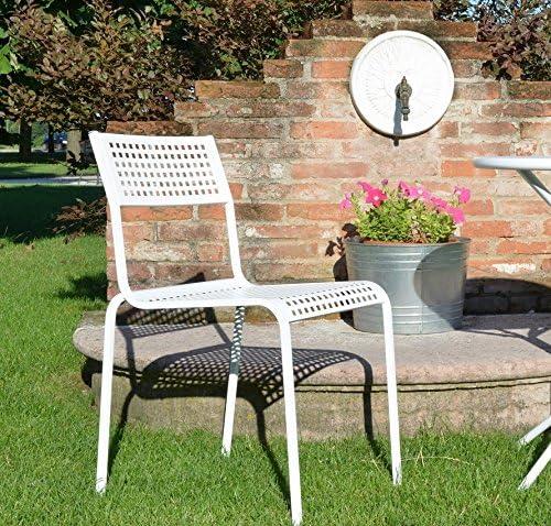 RD ITALIA Silla Sin Reposabrazos monella Metal anticorrosión Blanca Outlet: Amazon.es: Jardín