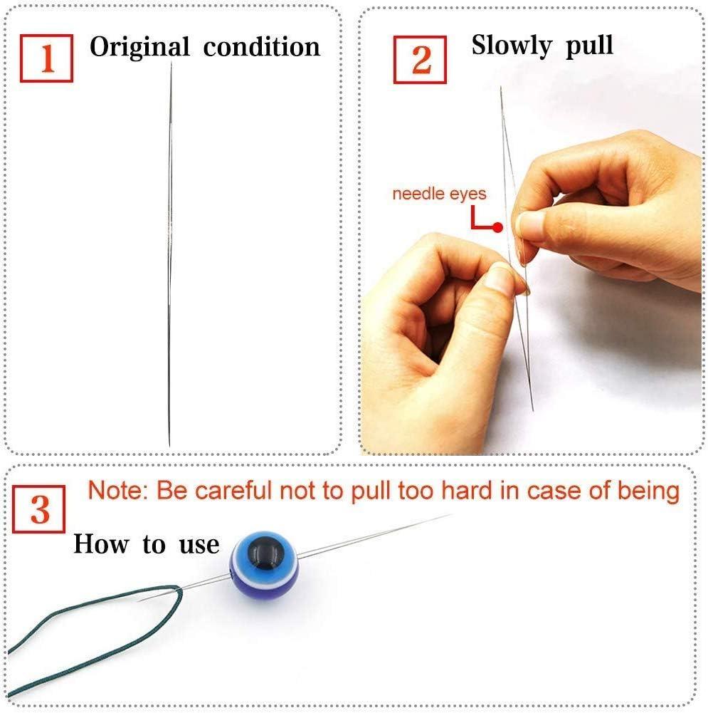 Gro/ße Auge Perlen Nadel 6 Gr/ö/ßen N/ähnadeln aus Edelstahl Perlen Nadel f/ür Stickerei Beading Nadeln mit Nadel Flasche 18 St/ück Bead Nadeln