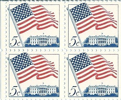 1962 US Postage Stamp 5 Cent 50 Star Flag Block Of 4 MNH Scott - Cent Sunglasses 50