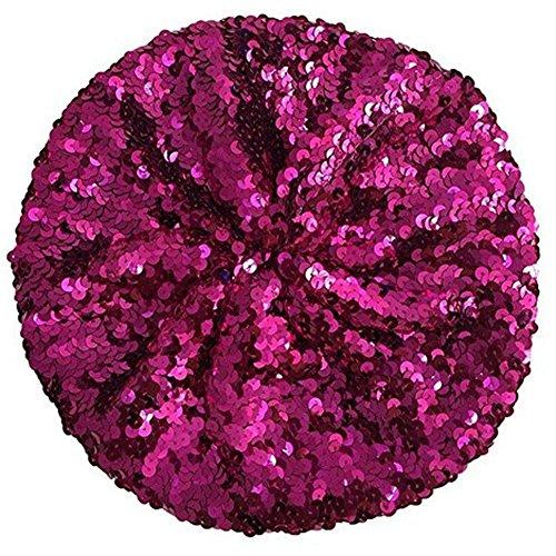 L'VOW Women's Sparkle Sequins Stretch Beret Beanie Hat (hot Pink)