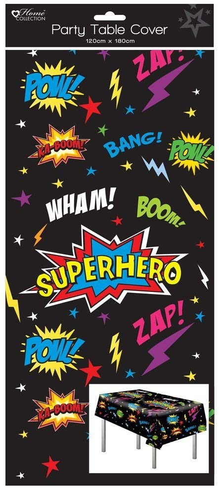 1 Oblong Plastic Children's Party Tablecloth Table Cover 120x180 Boy's Superhero Anker