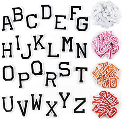 Letter Iron On Patches Sew On Appliques with Ironed Adhesive Black White Embroidered Decorative Repair Patches for Shoes Hat Bag Clothing 52 PCS Alphabet Letters Set
