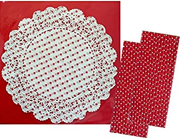 12 Pack Of Red Polka Dot Doilies
