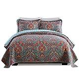 Lecoda Cotton Jacquard Style Bohemian Reversible Patchwork Bedspread Queen Size Quilt Sets (European Style)