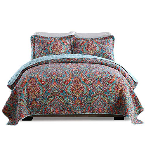 Lecoda Cotton Jacquard Style Bohemian Reversible Patchwork Bedspread Queen Size Quilt Sets (European Style) by Lecoda