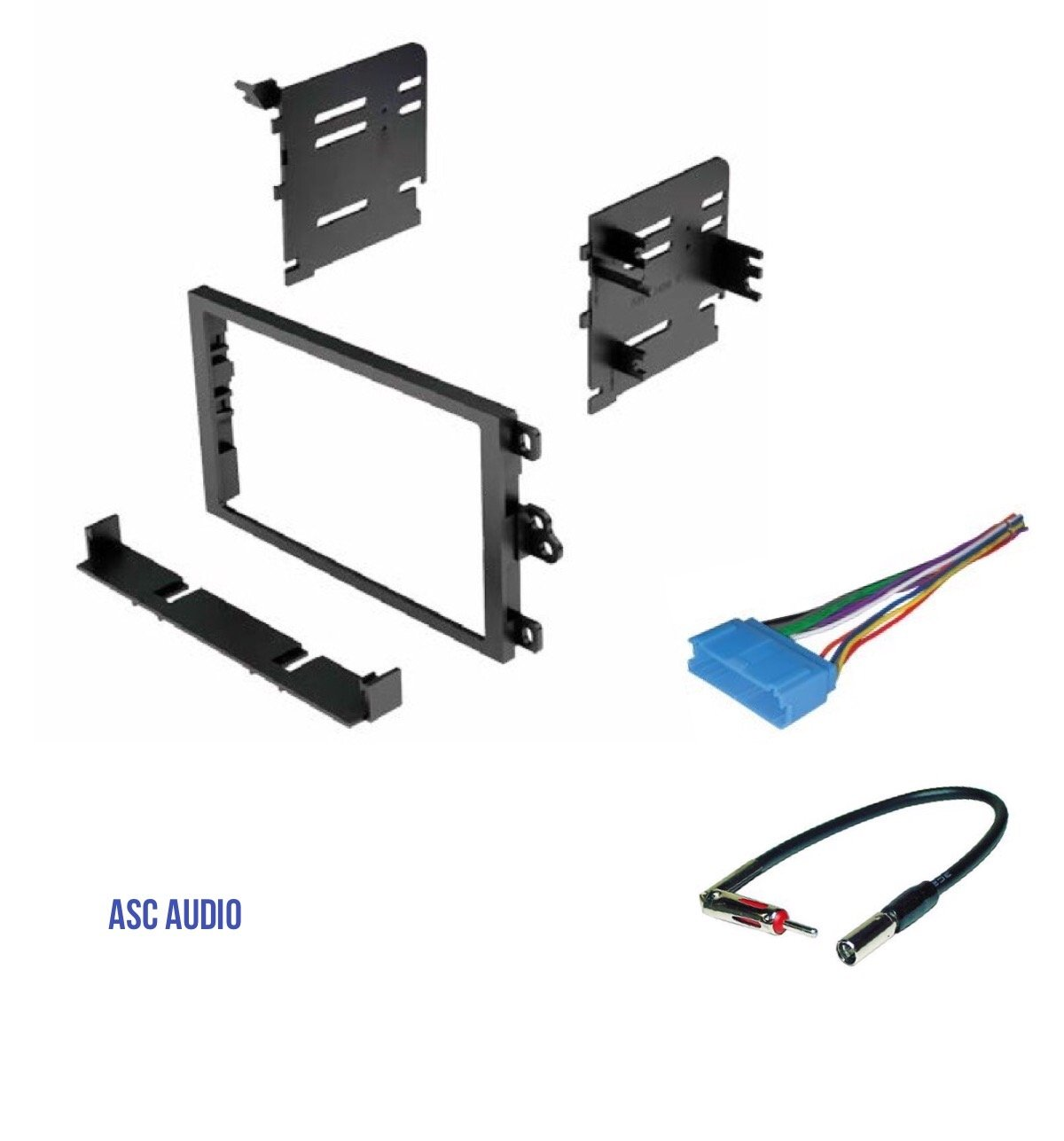 ASC Double Din Car Stereo Dash Kit, Wire Harness, Antenna Adapter for some GM Vehicles - No Factory Amp - Basic Wire Harness - Very Important: Read Compatible Vehicles and Restrictions Listed Below