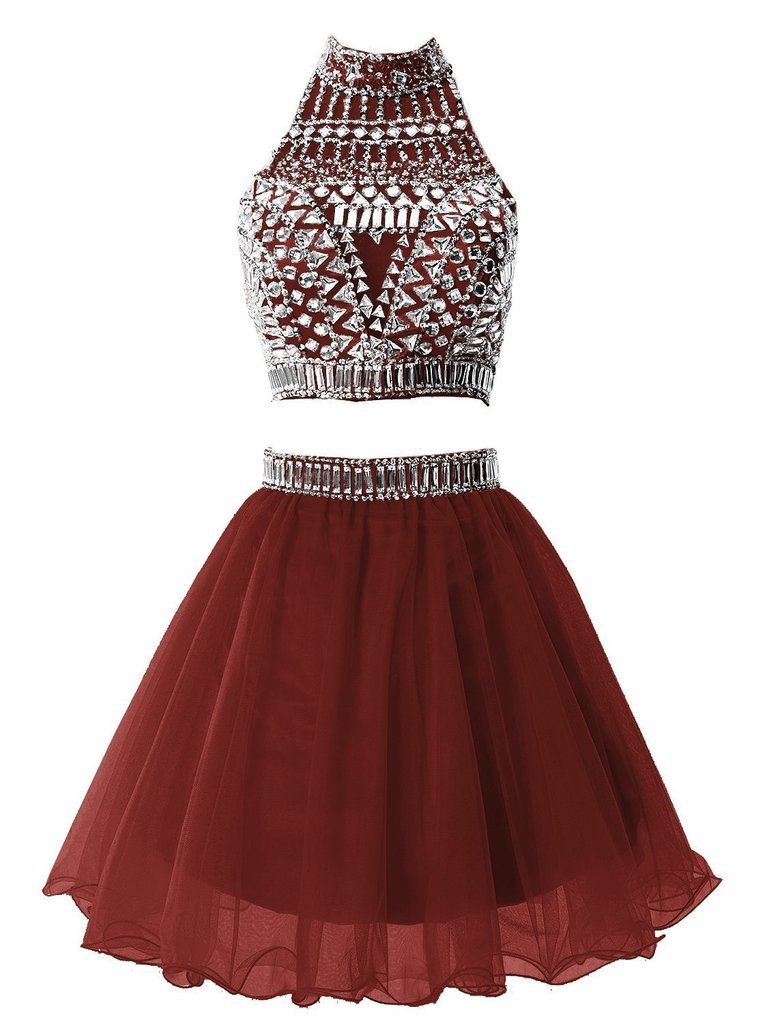Snowskite Women's Short Two Pieces Beading Tulle Homecoming Prom Dress Burgundy 4