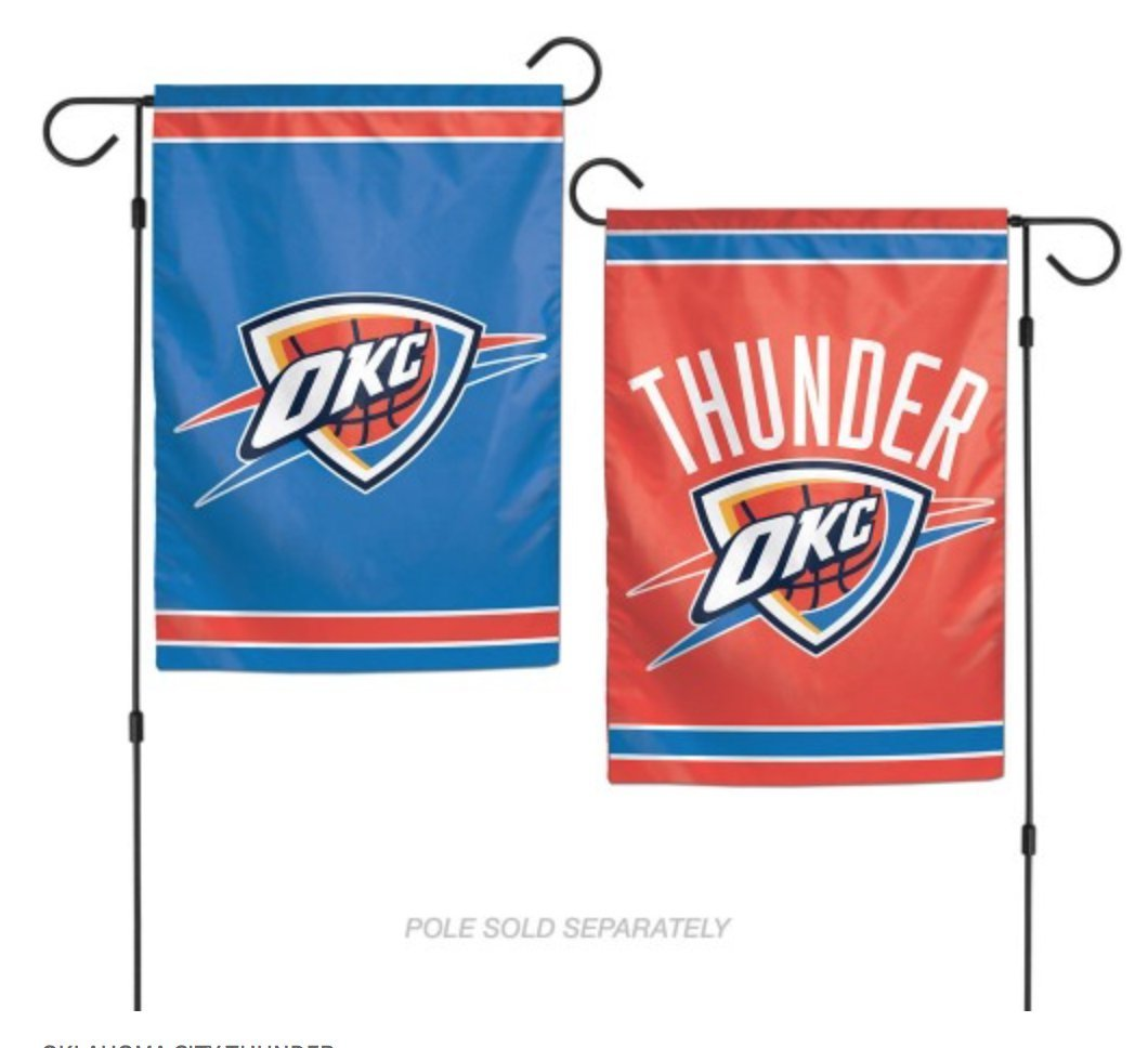 NBA Oklahoma City OKC Thunder 12.5'' x 18'' Inch 2-Sided Garden Flag Logo by WinCraft