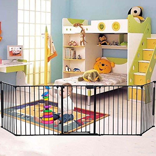 """Alightup 25"""" x 30"""" Elegant Steel & Plastic Fireplace Safety Fence Guard Baby Safety Fence Pet Dog Cat Hearth Gate BBQ Fire Gate Black"""