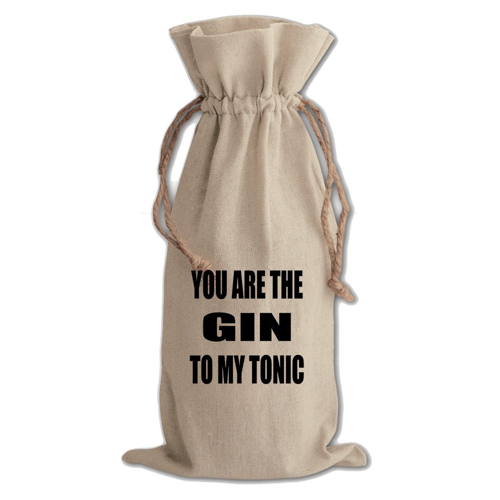 You Are The Gin To My Tonic #2 Cotton Canvas Wine Bag, Cotton Drawstring