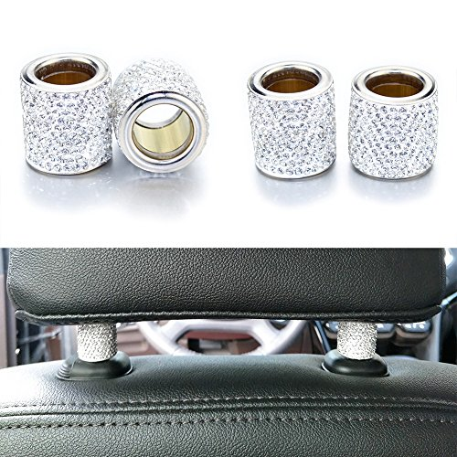 YINUO Car Headrest Collars, 4 Pack Universal Crystal Car Seat Headrest Decoration Charms For Auto Car Truck SUV Vehicle – Silver