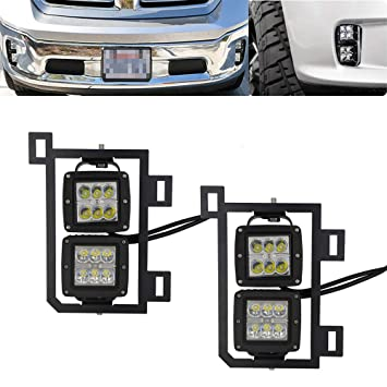 4x 3 Inch 18W Dually LED Fog Light Pods with Quick-Detach Wiring Plug and Fog Lamp Location Mounting Bracket Fits for Dodge 2010-2019 Ram 2500 3500 2009-2012 Ram 1500