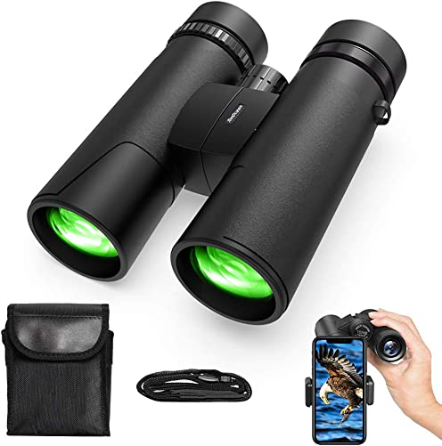 TONDOZEN 10X42 Compact Binoculars for Adults Kids with Phone Adapter, BAK-4 Prism Binoculars for Bird Watching, Cruise, Sports, Concerts, Hunting, Trip with Carrying Bag Neck Strap