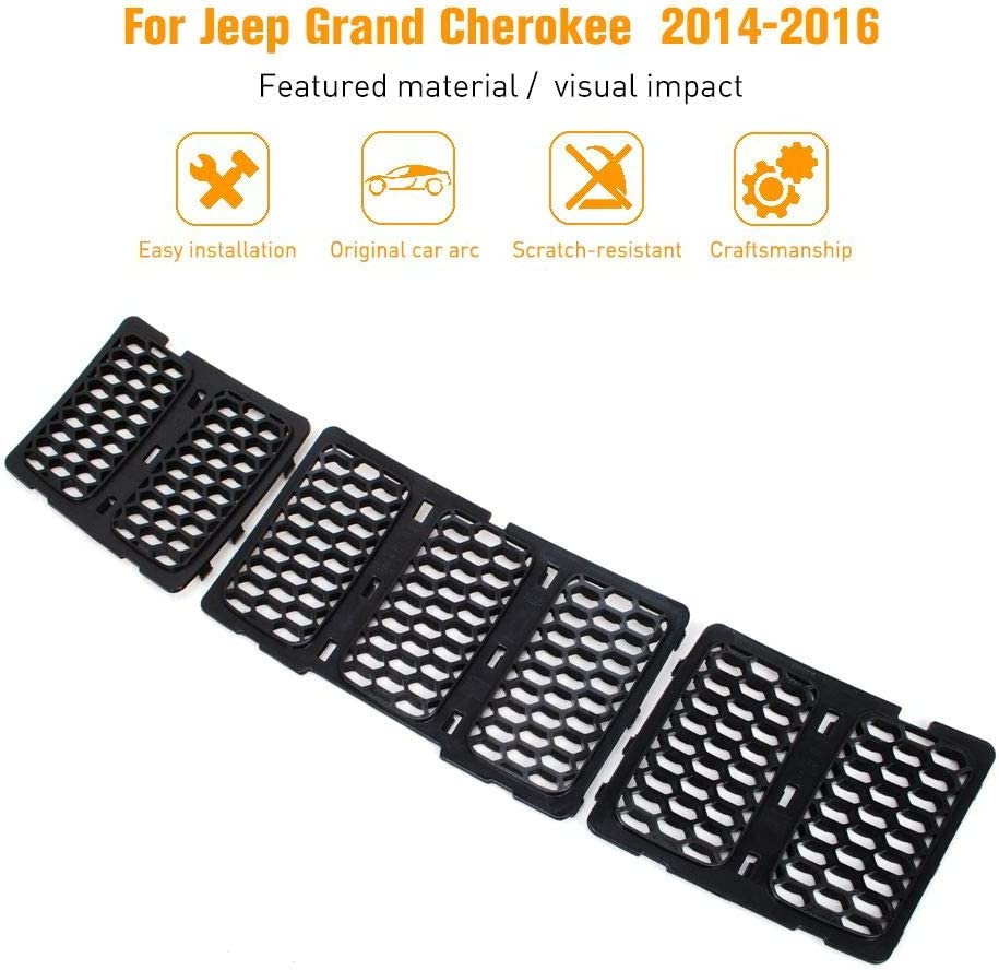 Black JeCar Mesh Grill Front Grille Trim Honeycomb Grill Inserts Cover Custom 3D Formed for 2014-2016 Jeep Grand Cherokee