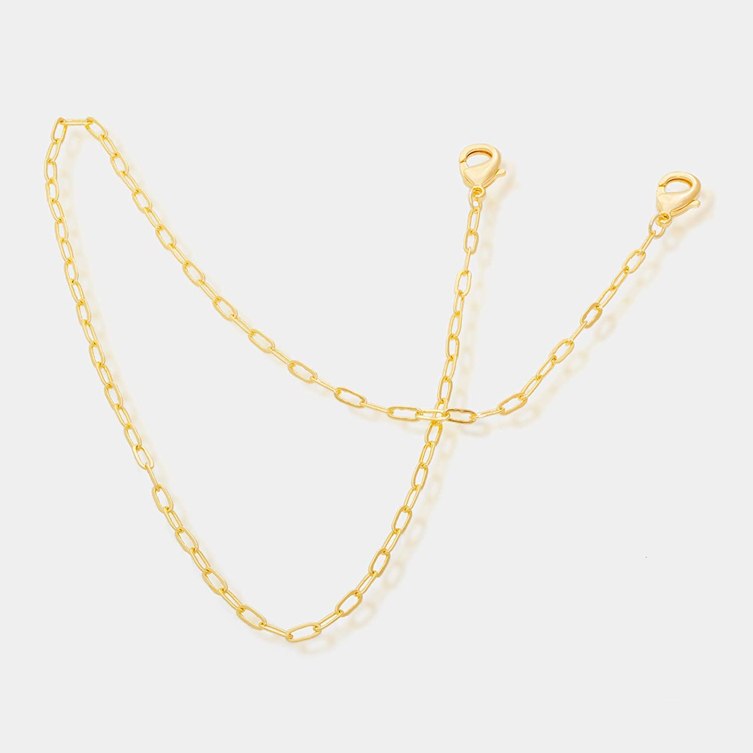 24k gold plated removable mask chain with paper clip chain