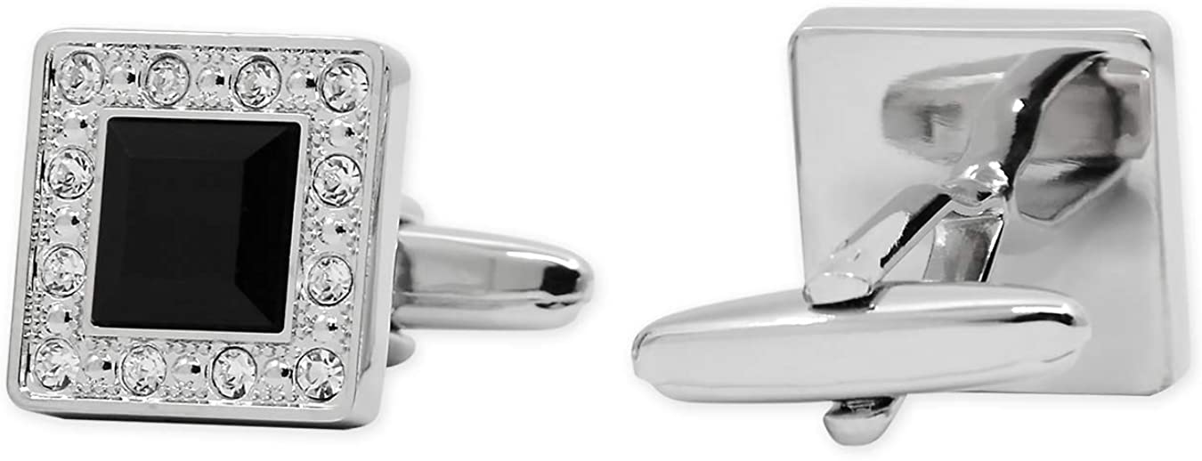 Sterling Silver Rhodium Plated Square Cuff Links Best Quality Free Gift Box