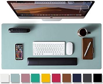 Non-Slip Desk Mat Desk Writing Mat Mouse Pad Waterproof Desk Blotter Protector PU Leather Desk Mat Dual Sided Office Desk pad Desk Pad