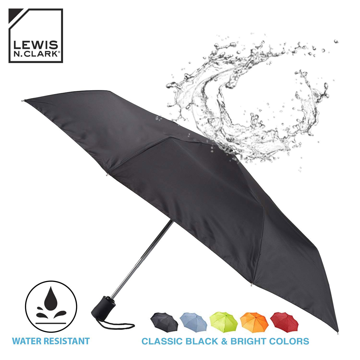 Lewis N. Clark Travel Umbrella: Windproof & Water Repellent with Mildew Resistant Fabric, Automatic Open Close & 1 Year Warranty. - Black by Lewis N. Clark (Image #1)