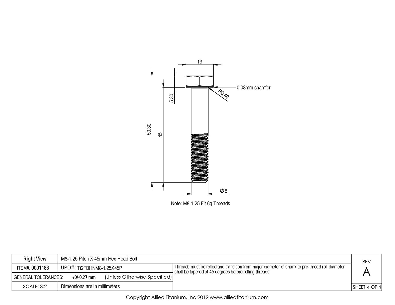 CP Allied Titanium 0001186, Pack of 5 M8-1.25 Pitch X 45mm Titanium Hex Head Bolt Grade 2