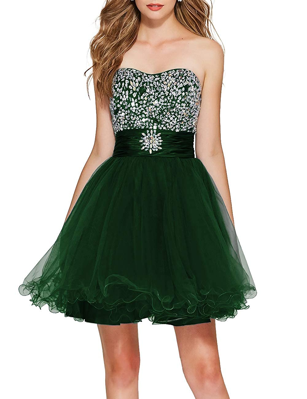 Dark Green Uther Girls Sweetheart Bridesmaid Dresses Beaded Homecoming Dress Short Prom Gown