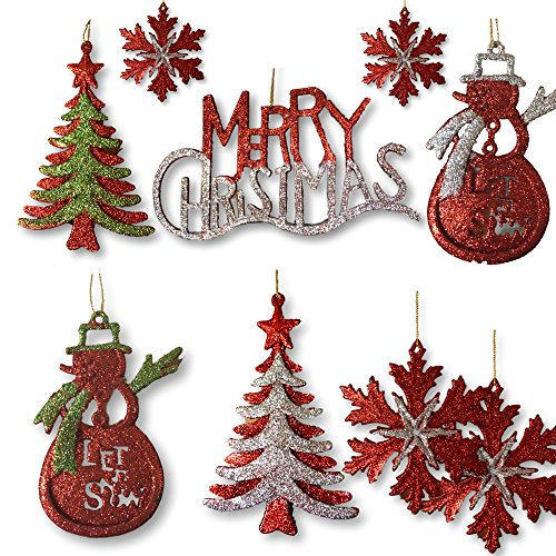 - BANBERRY DESIGNS Silver, Red and Green Glitter Ornaments - Set of 13 Glittered Christmas Ornaments - Snowmen, Merry Christmas, Xmas Tree and Snowflakes Included - Christmas Decorations