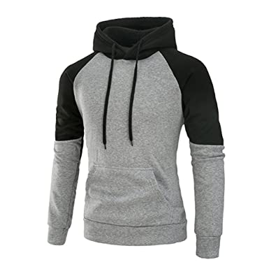 b12341b7 Mooncolour Mens Contrast Color Pullover Hoodie Cozy Sport Outwear at Amazon  Men's Clothing store: