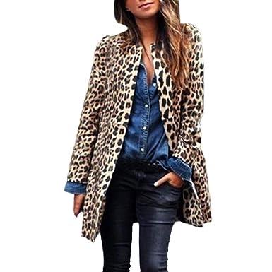 Luckycat Leopardo de Las Mujeres Sexy Winter Warm New Wind Coat Cardigan Leopard Print Long Coat