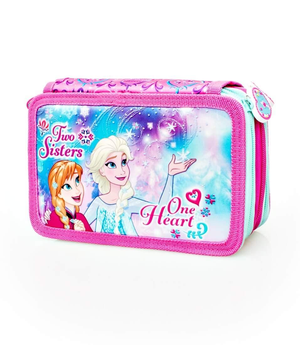 27 TLG gef/üllt f/ür M/ädchen violett//pink PWDKL 21 x 12 x 4 cm 2-Fach Federtasche Federmappe Die Eisk/önigin Anna und ELSA Ragusa-Trade Disney Frozen