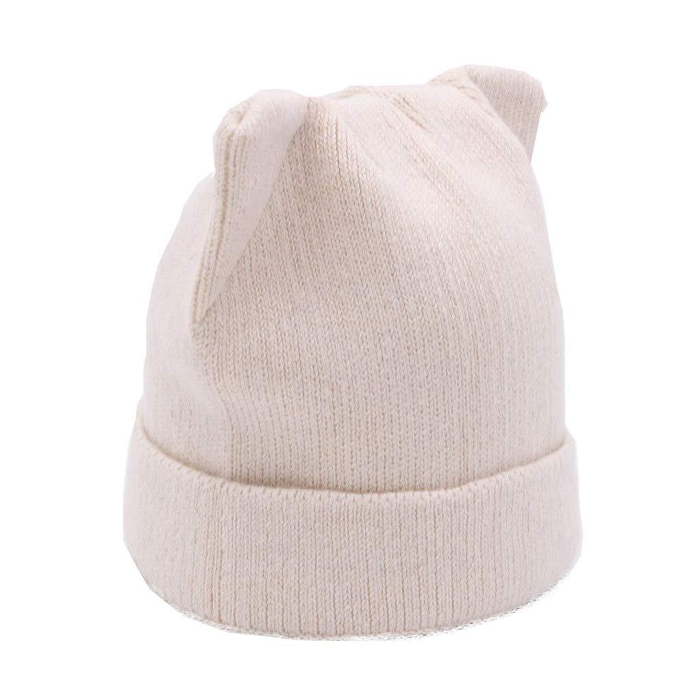 Dig dog bone Women's Winter Crochet Braided Cat Ears Beret Beanie Ski Knitted Hat Cap. (Color : Beige)