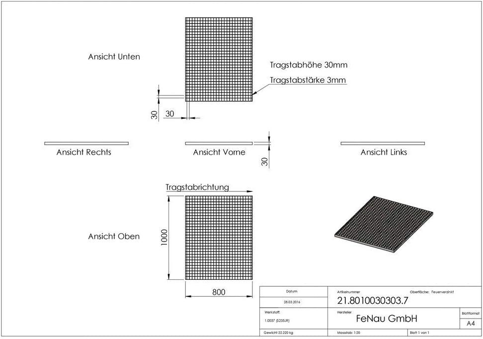 - Espesor del material: 2 mm m/² Rejillas industriales Dimensiones: 700 x 1000 x 30 mm MW: 30//30 mm Carga sobre ruedas: 2,64 kN//Carga superficial : 21,16 kN Fenau