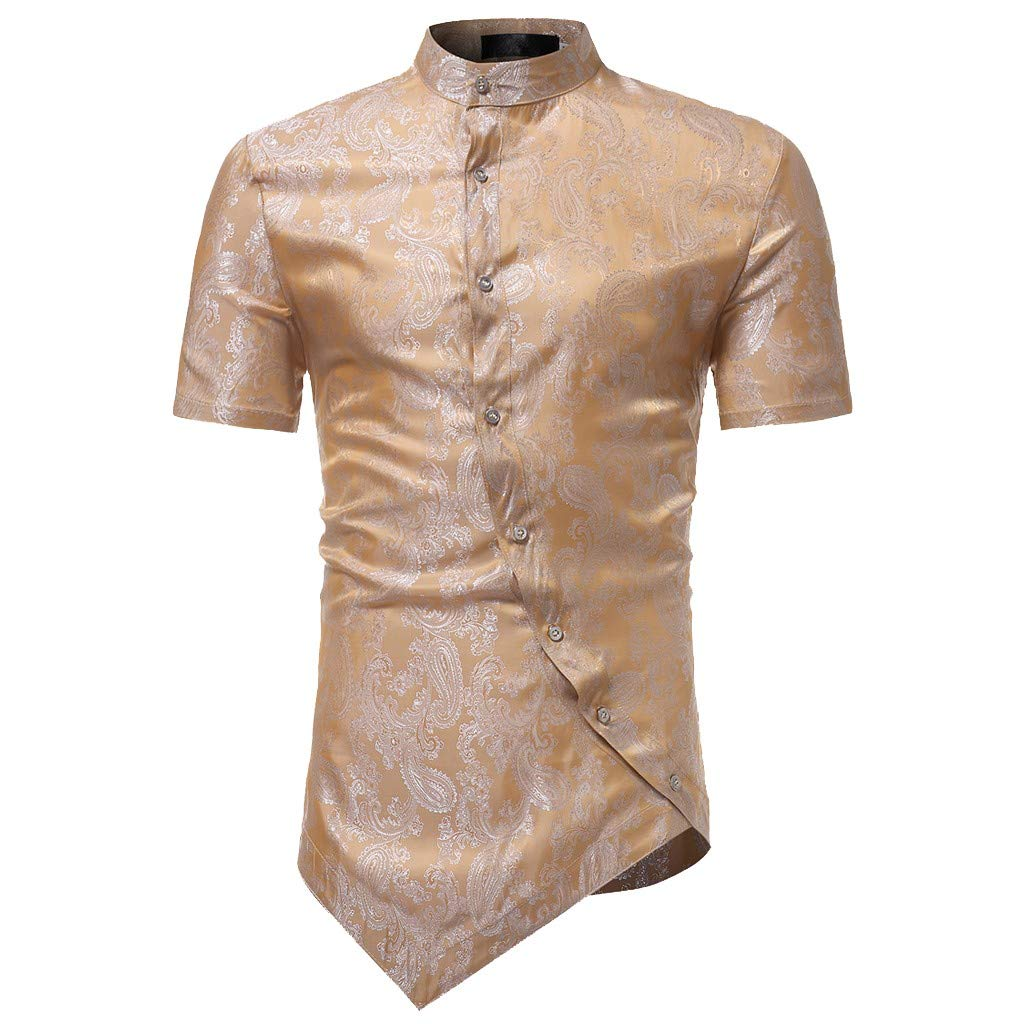 Men Spring Irraguler Slim Fit Short Sleeve Printed Muscle Tee T-Shirt Top Blouse Palarn Mens Fashion Sports Shirts
