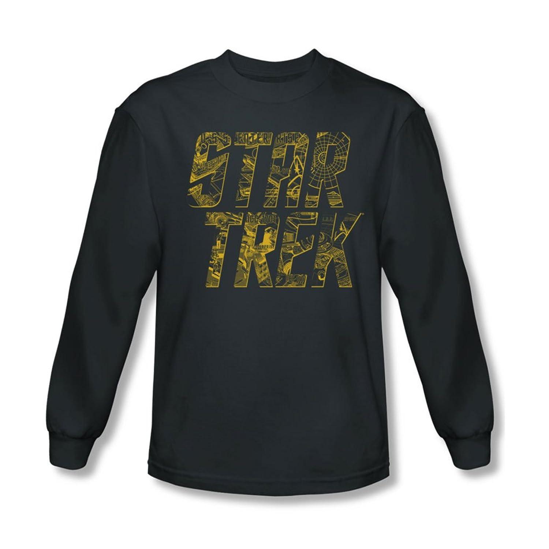 Star Trek - Mens Schematic Logo Long Sleeve Shirt In Charcoal
