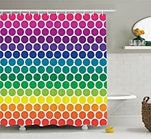 Ambesonne Polka Dots Home Decor Collection, Illustration of Bright Rainbow Colored Dots Big Circles Spots Playroom Kids Theme, Polyester Fabric Bathroom Shower Curtain Set with Hooks, Multi