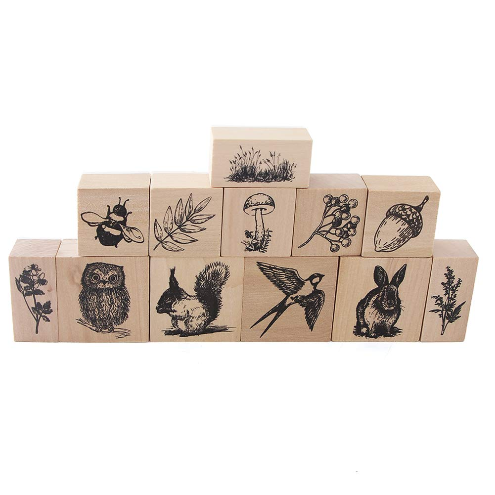 12pcs Wooden Rubber Stamps Animals and Plants Patterns Stamps Set for DIY Craft Card Scrapbooking Supplies by Co-link (Image #2)