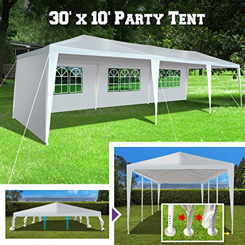 BenefitUSA Wedding Party Tent 10'x30' Easy Set Gazebo BBQ Pavilion Canopy Cater Events Outdoor Camping W/4 Sidewalls (Coating Palm Springs Powder)