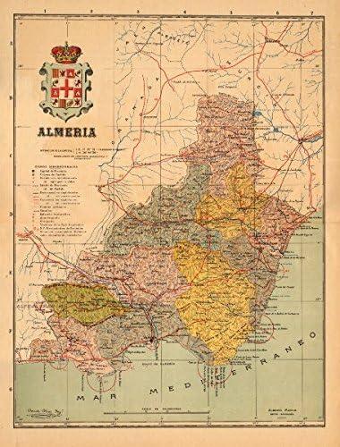 ALMERÍA. Almeria. Andalucía. Mapa Antiguo de la Provincia. Alberto Martin - C1911 - Mapa Antiguo Vintage - Mapas Impresos de España: Amazon.es: Hogar