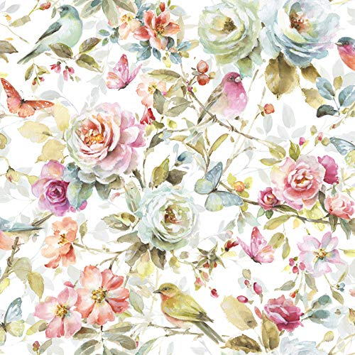 - Watercolor Garden Cotton Fabric by The Yard