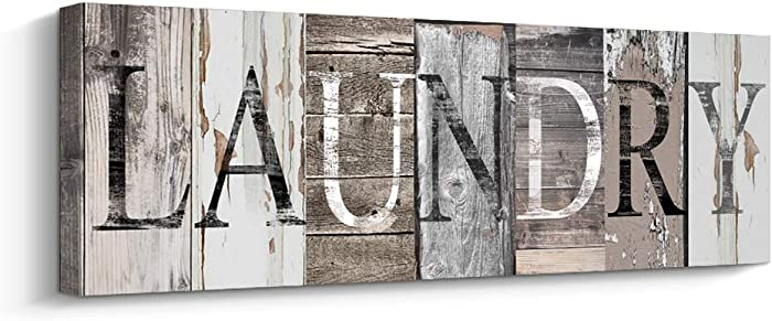 Laundry Room Decor Canvas Wall Art Prints for Rooms (with Solid Wood Inner Frame) (Laundry, 6 x 17 inch)