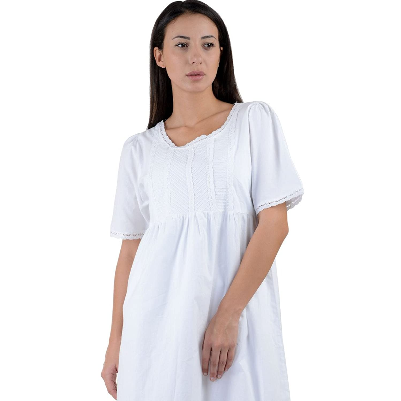 Cotton Lane White Cotton Victorian Vintage Reproduction Nightdress. Sizes UK 8 to 38.