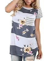 Short Sleeve Blouse Jimmkey Women Striped Floral Print Tops Tee Shirt