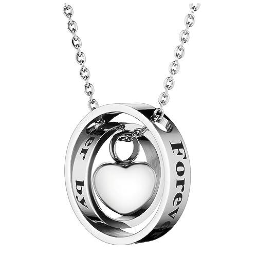 Zysta Memorial Puerta Colgante Collar de Acero Inoxidable Doble círculo y Colgante de corazón con Grabado Plata + Embudo llenar Kit