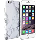 iPhone 6 Back Case, Snap Cover Glossy for iPhone 6 (4.7 Inch Display) - White Marble Pattern Slim Fit Snap on Protective Hard Shell Back Case